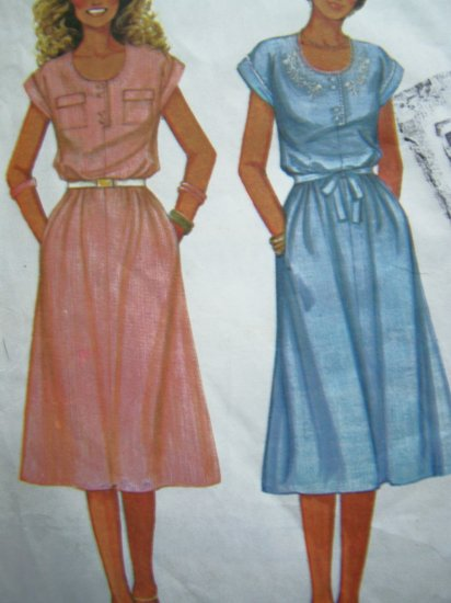 70's Vintage Pullover Summer Dress Scoop Neck Cap Sleeve B 34 Side Seam Pockets Sewing Pattern 6548