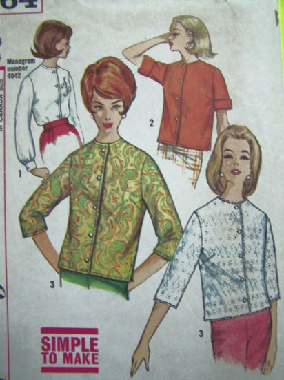 1950's Vintage Button Up Shirt Round Collar B 34 Tops Blouse Easy Mod Retro Sewing Pattern 4464