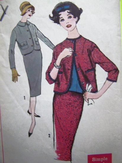 Vintage Sewing Pattern Slim Pencil Skirt Kick Pleat Boxy Bolero Jacket Suit Bust 31.5 Easy Mod 2637