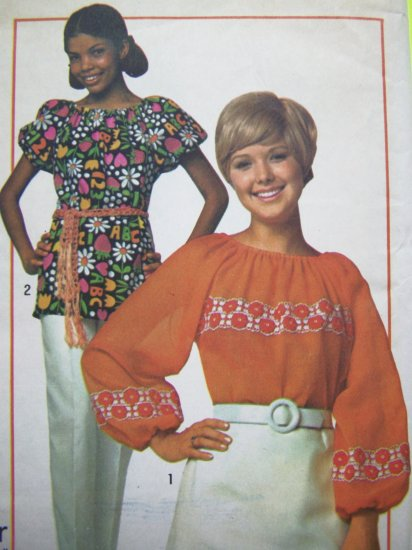 70s Hippie Vintage Sewing Pattern Top Peasant Tunic Shirt B 31.5 32.5 Boho Blouse Retro Gypsy 9231
