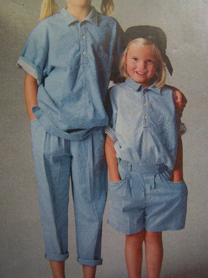 80s Esprit Girls 5 6 6X Button Up Shirt Rolled Cuff Pants Shorts Vintage Sewing Pattern 6134