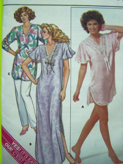 1980's Sexy Nightgown Gown Lounge Pants Sz 6 8 10 12 14 Lingerie Vintage Sewing Pattern 3850
