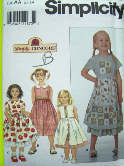 90s New Girls 3 4 5 6 Midi Empire Dress & Ruffle Petticoat Full Skirt Sewing Pattern 8652