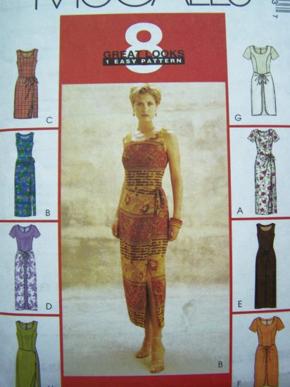 90s Princess Seam Sun Dress Front Drape Wrap Sundress B 34 36 38 Sz 12 14 16 Sewing Pattern 9298