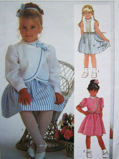 80s Girls Sz 5 Sleeveless Easter Dress Button Wrap Bolero Jacket Simplicity Sewing Pattern 7298