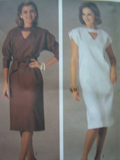80s Dress V Neck Keyhole Button Tab B 32.5  36 Cap or Long Sleeve Vintage Sewing Pattern 6936