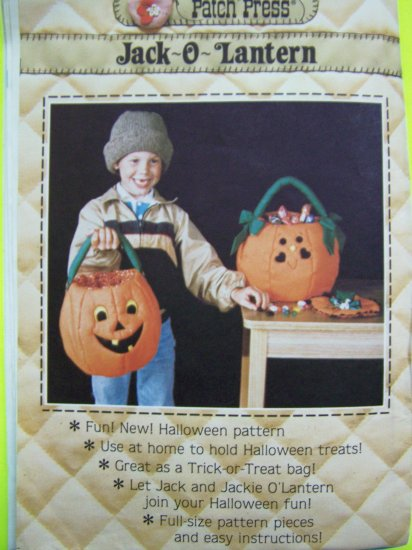 80s Vintage Halloween Fabric Jack O Lantern Candy Trick or Treat Bag Sewing Pattern