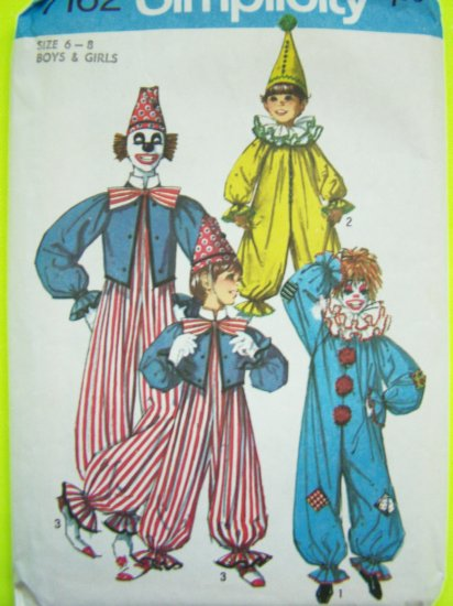 2.00 Vintage Boys Girls Halloween Costume Sewing Pattern Childs 6 8 Clown Vest Hat Ruffle Neck 7162