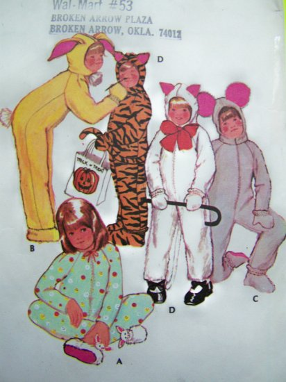 70s Vintage Halloween Costume Sewing Pattern Child's 6 Tiger Rabbit Mouse Winter Pajamas Easy 3355