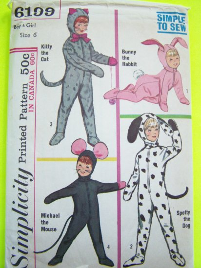 $3 60s Vintage Halloween Costume Sewing Pattern Cat Bunny Rabbit Mouse Dog Child's 6 # 6199