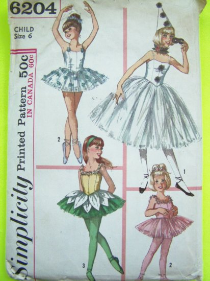 Girls Vintage Sz 6 Ballet Skating Dance Fairy Princess Halloween Costume Sewing Pattern 6204