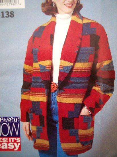 $3 90s Miss 8 10 12 Loose Fitting Lined Jacket Coat B 31.5-34 Tweed Denim Fleece Sewing Pattern 4138