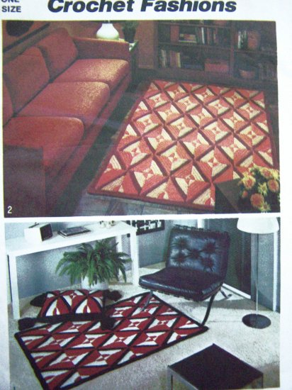 Free USA S&H 1970's Vintage Crochet Rugs Pattern Floor Tassel Trim Pillow Reversible Crocheting 5713