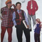 90s Boys Girls Sewing Pattern 6683 Sz 7 8 10 Lined Vest Shirt Pull On Elastic Pants Tie McCall's