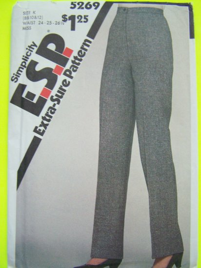 80's Vintage Sewing Pattern 5269 Dress Pants Sz 8 10 12 Zipper Fly Button Waist Simplicity 5269