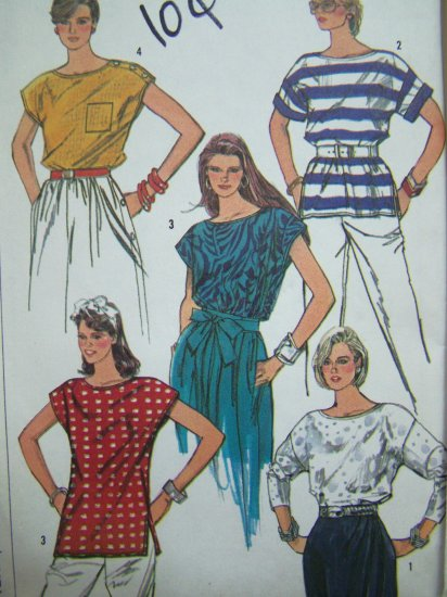 5.00 Vintage Sewing Pattern Boatneck Tunic Tops B 34 Pullover Blouse Easy Cap Short 3/4 Sleeves 7663