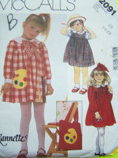 80s Girls Vintage Sewing Pattern Empire Easter Tent Dress Sz 5 6 6x Tote Bag Purse 2091