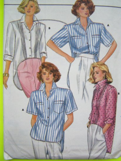 Uncut Vintage Shirt Sewing Pattern Shaped Hem Sz 8 10 12 Long Short & Rolled Up Sleeves 3834