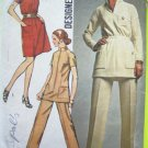Vintage Sewing Pattern Button Patch Pockets Dress Funnel Neck Mandarin Collar Tunic Top Pants 8914