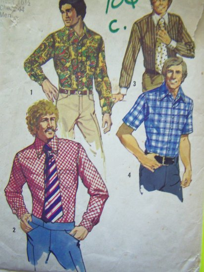 "Vintage Mens Sewing Pattern S 16 1/2 Chest 44"" Western Shirt Cowboy Hippie Disco 5325"