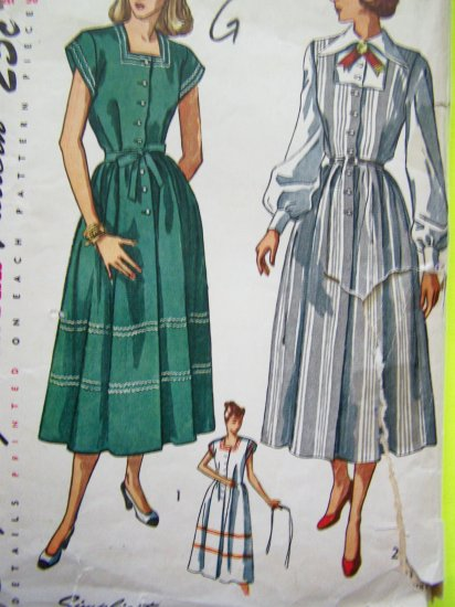1940's Vintage Sewing Pattern Maternity Jumper B 36 Square Neck Dress Long Sleeve Shirt 2459