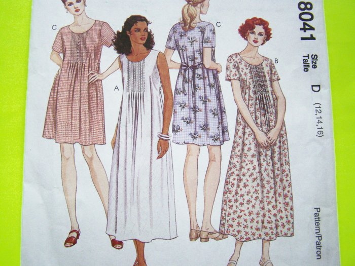 Clearance Sale Dress Front Tucks Tie Back Size 12 14 16  Summer McCall's Sewing Pattern 8041
