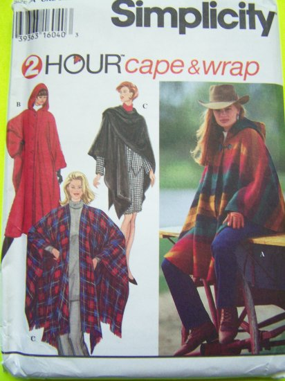 Hoodie Jacket Cape & Evening Stole Wrap Coat Easy Misses XS - L Sewing Pattern 9223
