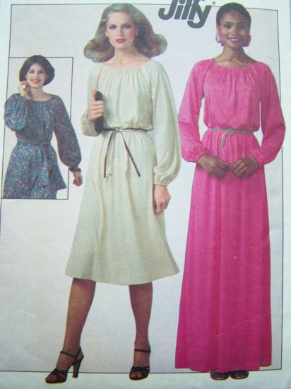 70s Vintage Sewing Pattern Misses Sz 10 12 Pullover Dress 2 lengths Long Sleeve Easy  8265