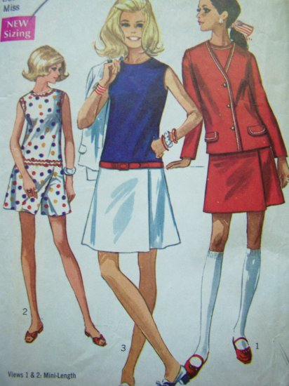 60's Vintage Sewing Pattern Mod Culotte Skort Dress Unlined Jacket B 32.5 Romper 8098