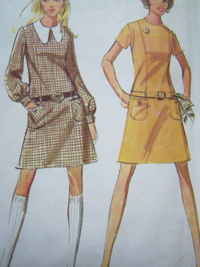 Sale Vintage Sewing Pattern GO GO Mini Dress Low Waist B 34 Patch Pockets Long Short SLeeves 2051