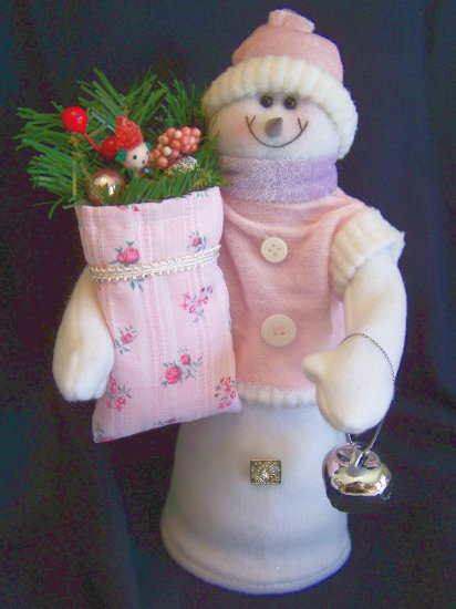 Pink Velvety Roses Snowman Christmas Tree Topper Vintage Ornament Rosebud Fabric Silver Jingle Bells