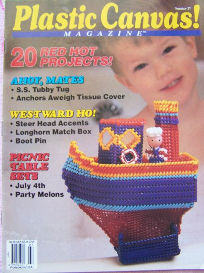 Plastic Canvas Magazine Issue # 27 July 1993 A B C Blocks July 4 Table Setting Tug Boat