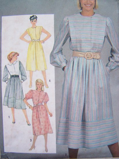 80's Dress Vintage Sewing Pattern Puffed Sleeve Flange Tuck Jewel Neck Sz 14 Simplicity 6243