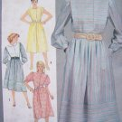 80's Dress Vintage Sewing Pattern Puffed Sleeve Flange Tuck Jewel Neck Sz 14 Simplicity 6243