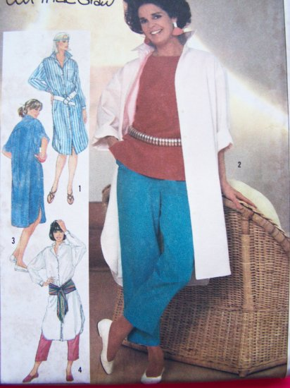 1980's Ali Macgraw Vintage Sewing Pattern Cropped Pants Top Oversized Shirt Sz 14 Simplicity 6846