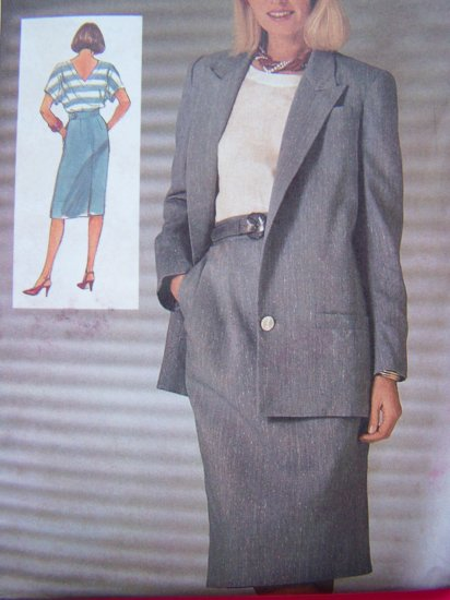 1980's Vintage Sewing Pattern Straight SKirt V Back Top Lined Jacket Sz 14 B 36 S6981