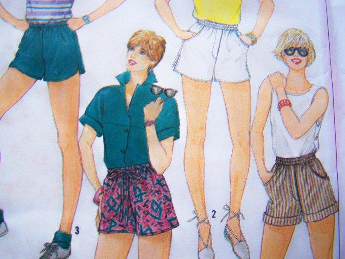"80's Vintage High Waist Short Shorts Elastic & Drawstring Waist 28"" Sewing Pattern Simplicity 6971"
