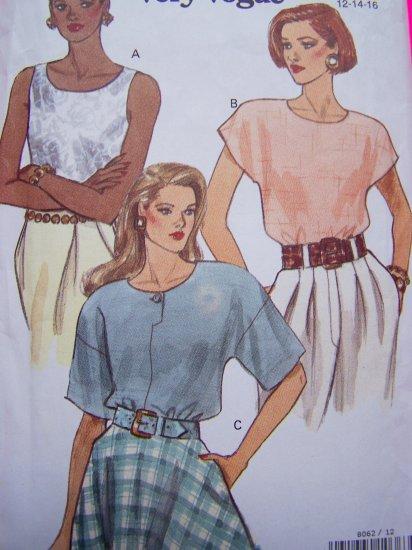 Vogue Sewing Pattern Blouse Summer 12 14 16 Shirt 8062