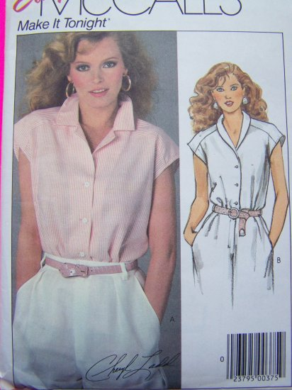 80's Vintage Button Up Shirt Sewing Pattern Notched & Shawl Collar Cap Sleeves 10 12 Small 9504