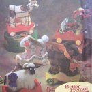 Decorative Pull Toy Sewing Pattern Bunny Cow Sheep Bear Elephant Wood Wagon Simplicity 8328