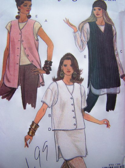 1990's Plus Size Vogue Sewing Pattern Pullover Top & Vest Sz 20 22 24 Loose Fitting # 8701