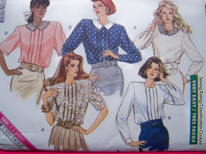 Patterns Sale $5 & Less 80's Vintage Sewing Pattern Set of Blouses Sz 8 10 12 Shirt Butterick 6609