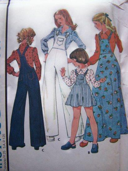 70's Vintage Girls 12 Sewing Pattern Wide Leg Bib Overalls & Jumper Dress Blouse 4857