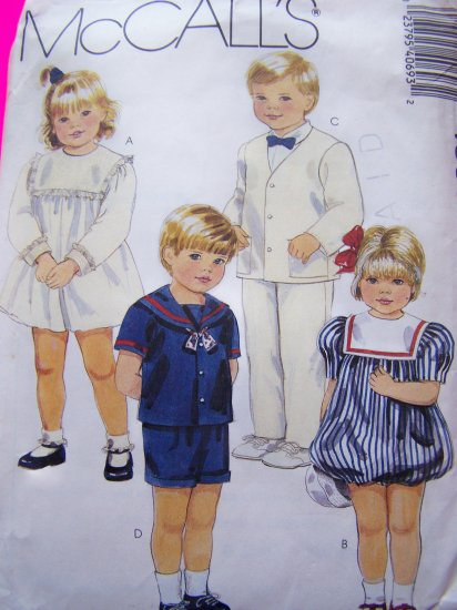 Toddler Girls Christmas Empire & Bubble Dress Boys Suit Jacket Pants Shorts Tie Sewing Pattern 4069