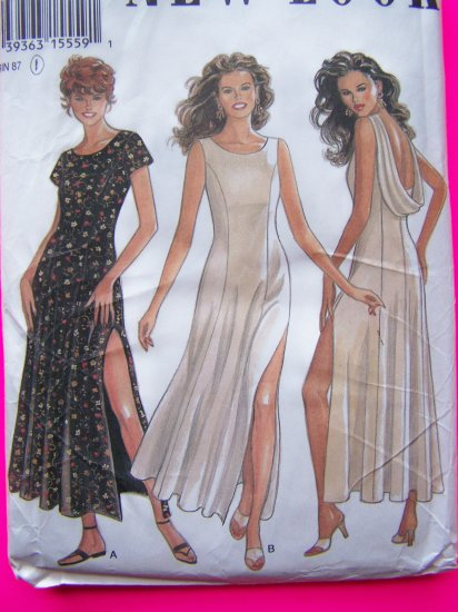 90's Dress Sewing Pattern Low Drape Back Princess Seamed Side Slit Sz 16 New Look # 6222