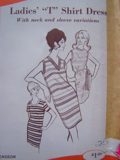 Misses 70's Vintage Sewing Pattern T Shirt Dress Sew Knit N Stretch V Round Scoop Neck # 313