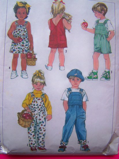 Child's Easy to Sew 2 Length Overalls & Jumper Dress Toddler Sz 4T Sewing Pattern 7957