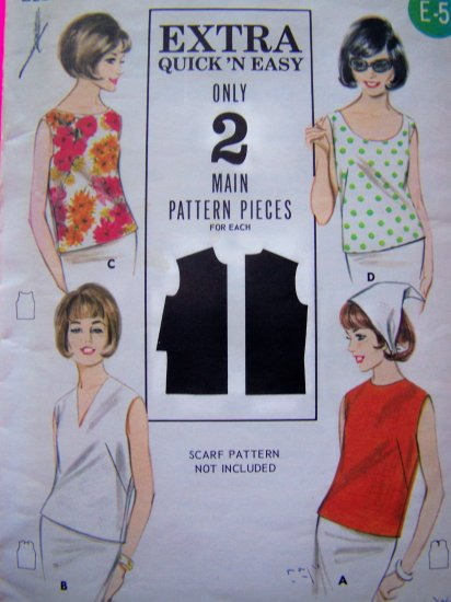$5.00 and Less Sale 50's Vintage Sewing Pattern Sleeveless Shirt Blouse Top V Jewel Sz 12 # 3286