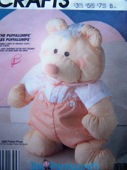 Vintage Sewing Pattern Puffalump Bear Doll & Jumpsuit Clothes Fisher Price Crafts Mccall's 3018