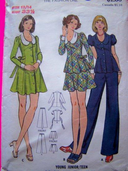 1970's Hippie Tie Back Dress Shirt Mini Skirt Jr Teen 13/14 Vintage Sewing Pattern 3015